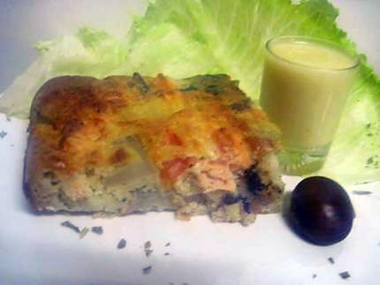 recette Quiche sans pâte au saumon rose.