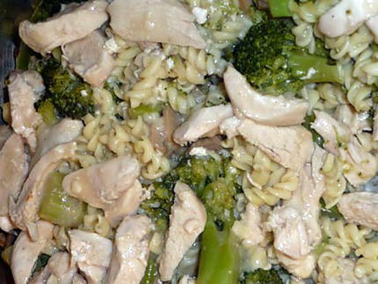 recette Gratin de fusillis au poulet et brocoli
