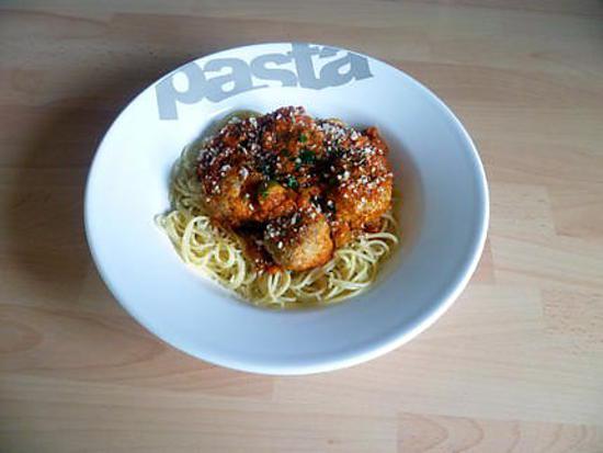 recette Spaghettis aux boulettes de viande et aux olives