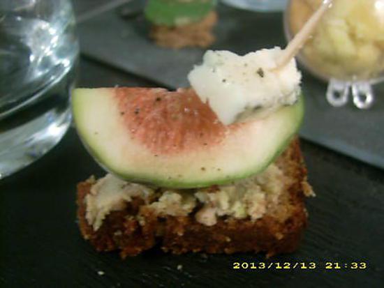 recette bouchée de pain d'épices aux figues et gorgonzola (apéro de noël)
