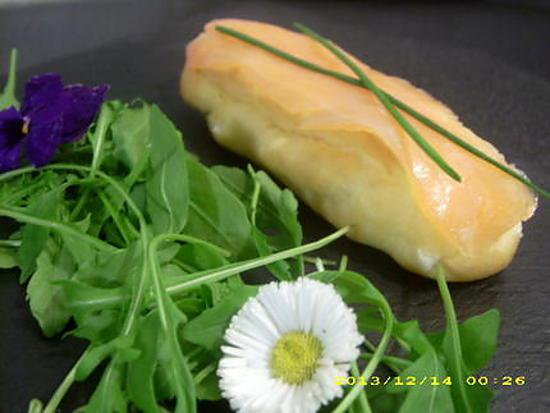recette éclairs au saumon et ses fleurs comestibles (noël)