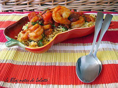 recette de rago t de crevettes et chorizo et leur riz la mexicaine. Black Bedroom Furniture Sets. Home Design Ideas