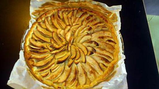Recette de tarte aux pommes simple fait par loulou - Tarte aux pommes compote maison ...
