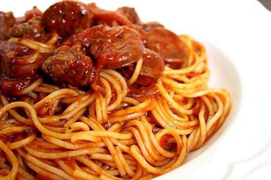 recette de spaghetti bolognaise chorizo. Black Bedroom Furniture Sets. Home Design Ideas
