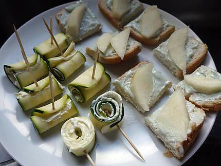 Recette de canap s cr me de roquefort poire roul s de courgette au boursin - Courgette boursin cuisine ...