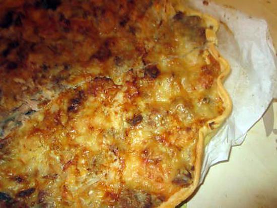 recette de tarte choux fleurs,lardons thon;reste sauce foie gras;