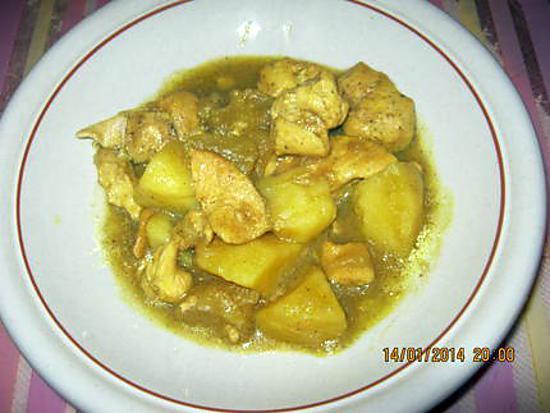 recette Poulet  curry light