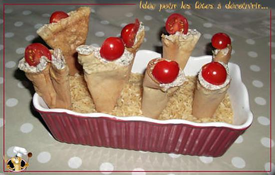 recette Feuille de brick à la crème de champignon façon cornet de glace