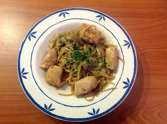 recette Wok de poulet et chou pointu