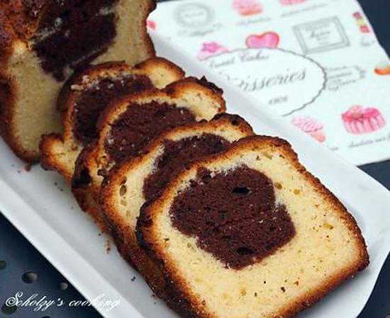 recette Cake marbré chocolat noir & blanc