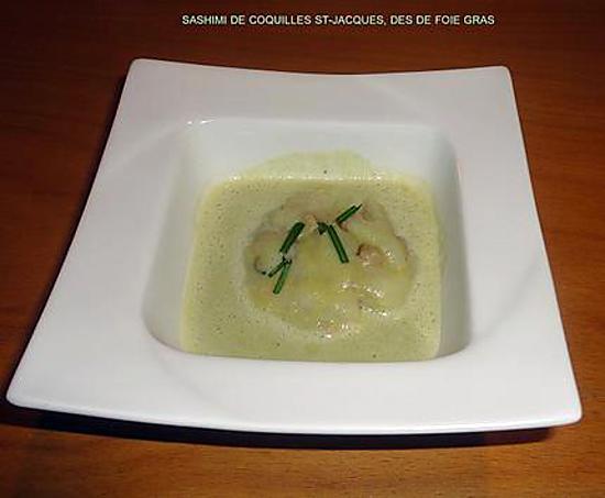 recette SASHIMI DE COQUILLES ST-JACQUES, DES DE FOIE GRAS