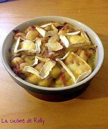 recette Gratin de gnocchi au jambon, champignons et caprice des Dieux