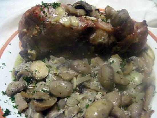 recette Cote d'échine de porc rôti. accompagné aux champignons.