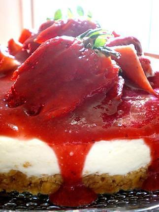 Recette de cheesecake sans cuisson aux fraises - Recette cheesecake sans cuisson ...