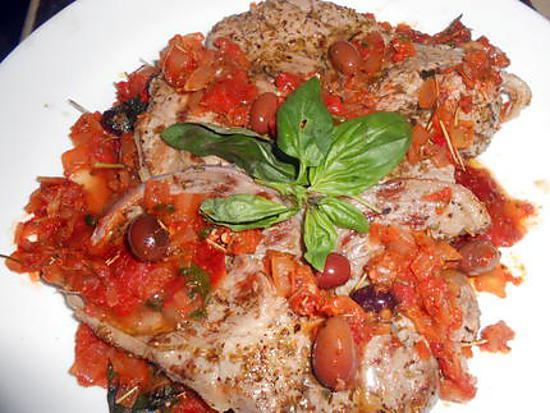 recette Tranches de gigot grillées aux olives noires de nice