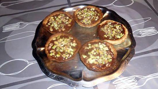 tartelettes au chocolat et eclats de pistache