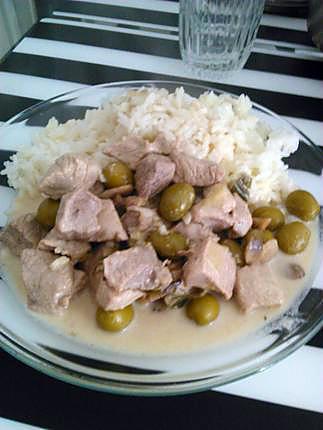 recette Sauté de porc aux champignons et aux olives