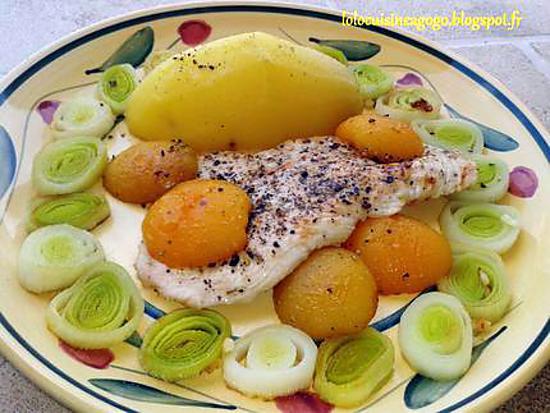 recette Escalope de dinde aux abricots, sweet patate et poireaux braisés