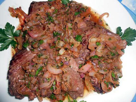 recette Steak de hampe aux échalotes