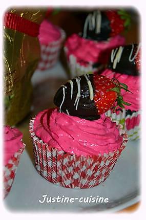 recette Cupcakes choco/fraise, coeur de fraise