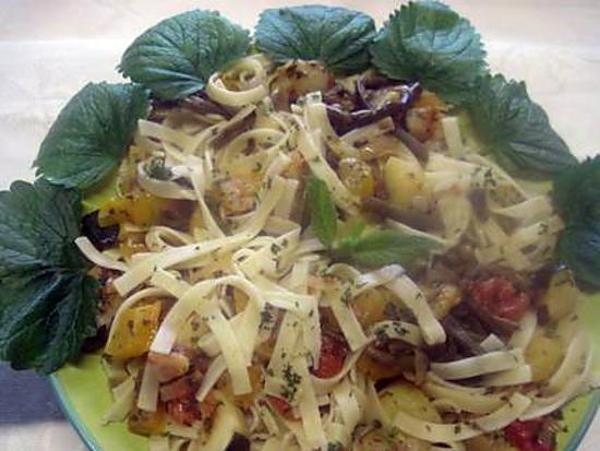 recette Nouilles aux restes de légumes variés.