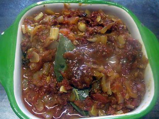 recette Sauce tomates et tomates séchées à la moutarde.