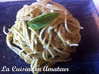 recette Spaghetti au pesto basilic