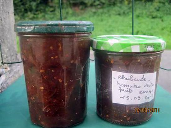 confiture de rhubarbe et fruits rouges