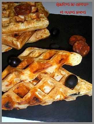 recette Gaufres au chorizo et olives noires
