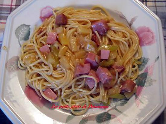 recette Spaghettis au jambon et ananas , sauce aigre-douce