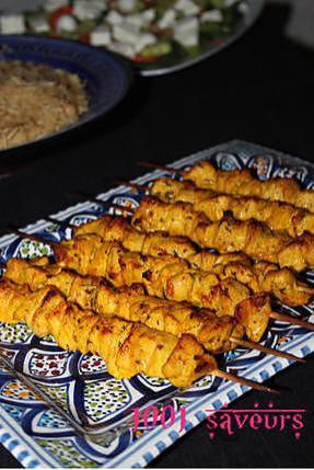 recette Chich Taouk (brochettes de poulet mariné)