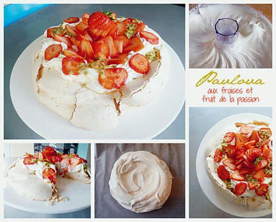 recette Pavlova aux fraises et fruit de la passion