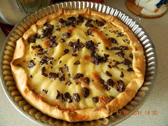 Recette de tarte aux poires et chocolat par mimine59 - Recette tarte aux chocolat ...