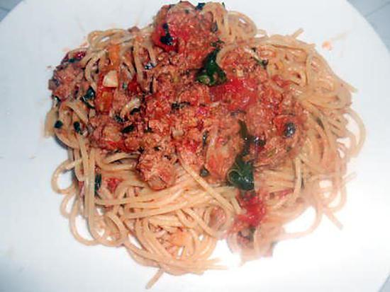 Spaghetti au thon et pesto d'olive et champignons 430