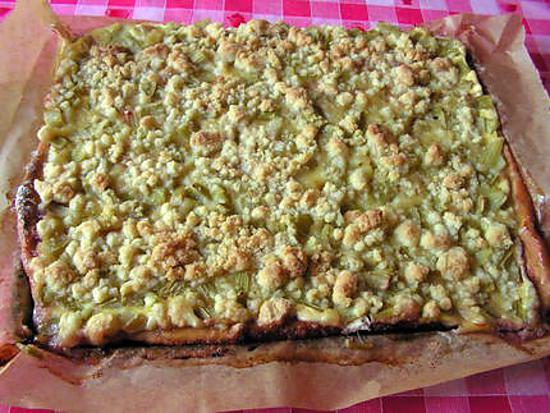 recette gâteau à la rhubarbe et au streusel