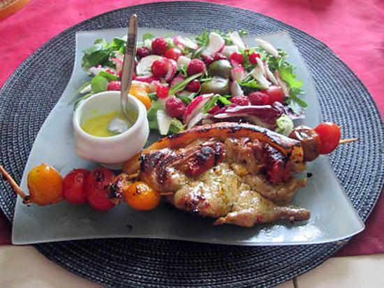 recette brochette agneau chorizo,lard