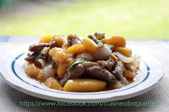 recette Veau filet avec la pêche à la sauce tamarin