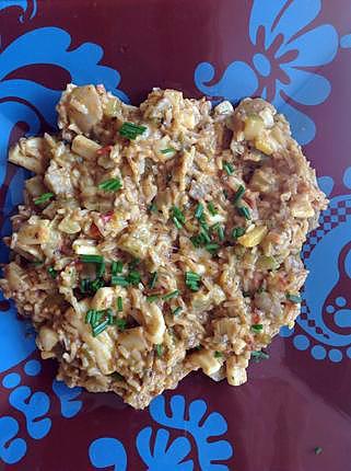 recette Encornet et son riz aux courgettes et aubergines au curry de mon mari