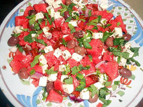 Recette de salade de pasteque a la feta - Salade de pasteque ...