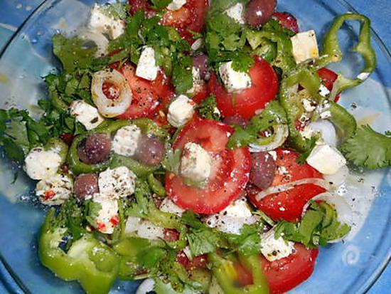 recette de salade de tomate poivron a la f ta. Black Bedroom Furniture Sets. Home Design Ideas