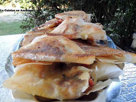 recette Feuilles de brick lardon, poivron oignon et mozzarella