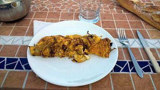 recette omelette aux oignons et aux pomme de terre  à la plancha