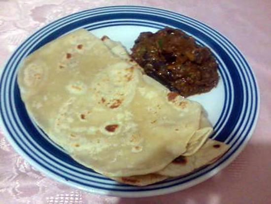 recette Roti(pain indien) et cari de maquereaux,aubergine