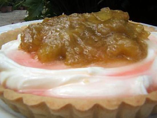 recette Tarte à la rhubarbe au mascarpone / gingembre confit et sirop de rose sur une pâte brisée au gingembre