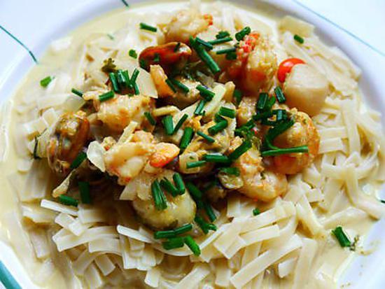 recette Nouilles aux fruits de mer