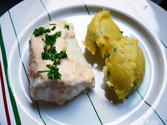 recette Dos de lingue à la crème de saumon / purée à la ciboulette