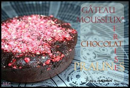 recette ** la recette du merveilleux gâteau fondant/mousseux au chocolat de L.Salomon avec de la fraise et des pralines rose !**