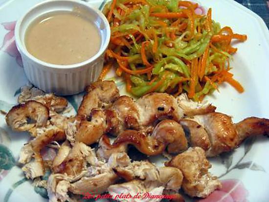 recette Brochettes de poulet, sauce aux arachides.