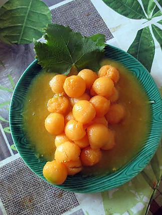 recette Melon sauce manguée au vin blanc (Défi tout orange n°1)