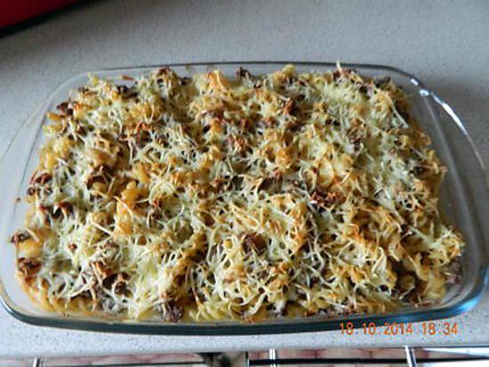recette Gratin de pâtes et hachis de boeuf